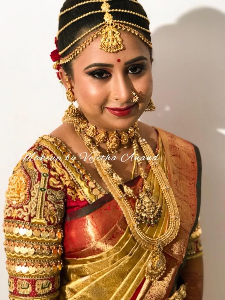a0c43a5a31 Bridal portrait at its best. Our bride Megha glows for her muhurtam. Hair  and