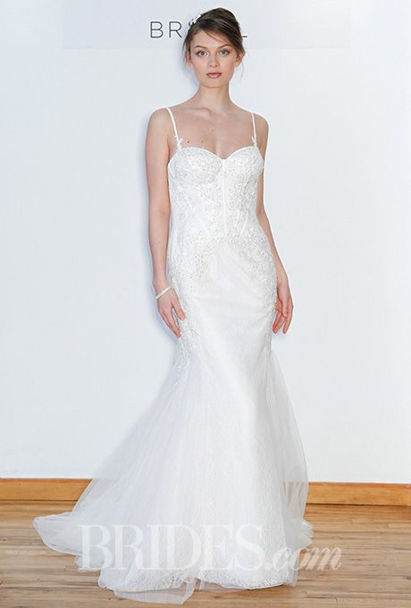 Brides: David's Bridal - Spring 2016. Sleeveless trumpet wedding dress with a sweetheart neckline, spaghetti straps, and a bustier-style bodice, David's Bridal