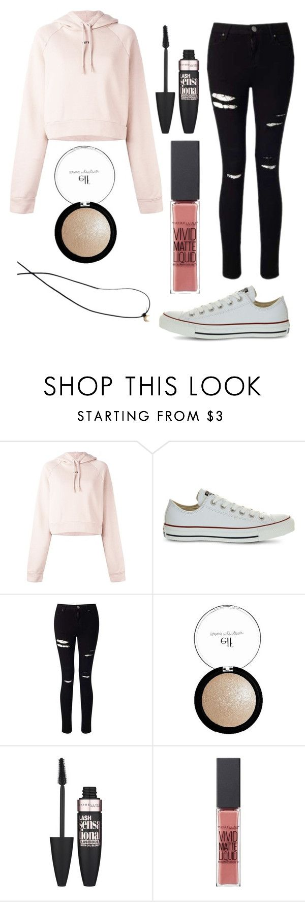 """Outfit #37"" by unicornicamitha on Polyvore featuring Off-White, Converse, Miss Selfridge, e.l.f., Maybelline and Madewell"