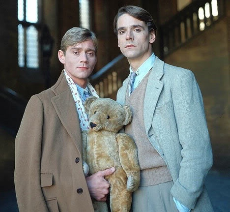 Anthony Andrews as Lord Sebastian Flyte, Jeremy Irons as Charles Ryder, and Aloysius: