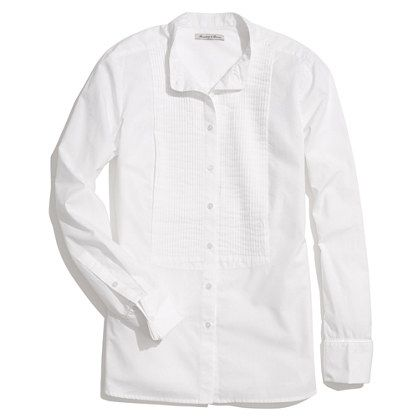 Collarless Tux Shirt. Oh, how I long for the perfect white shirt, at least four years have past, still haven't found it.
