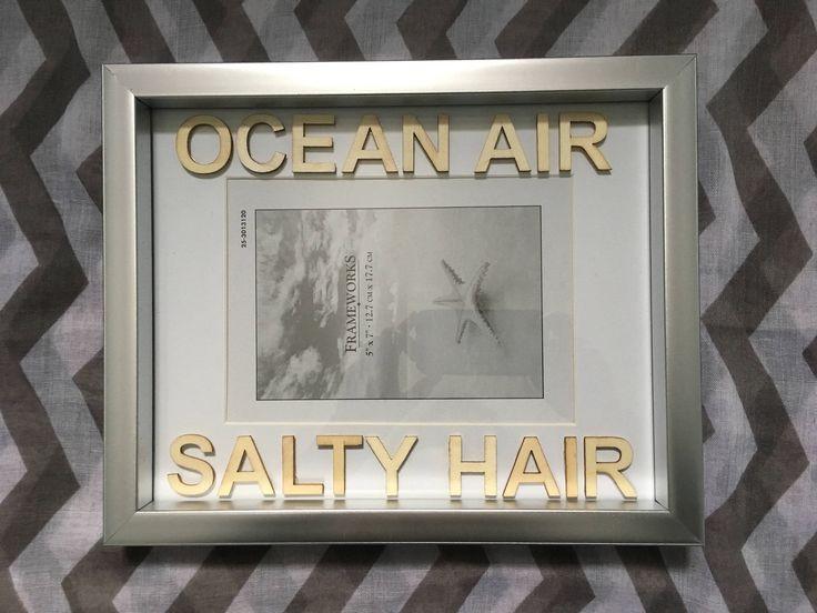 Ocean Air Salty Hair - Word Wood Letters - Frame Display Wall Hanging - Coastal Decor - Silver - Beach Decor - Home Decor - Salty Air by SaltyAirInspirations on Etsy https://www.etsy.com/ca/listing/584076523/ocean-air-salty-hair-word-wood-letters