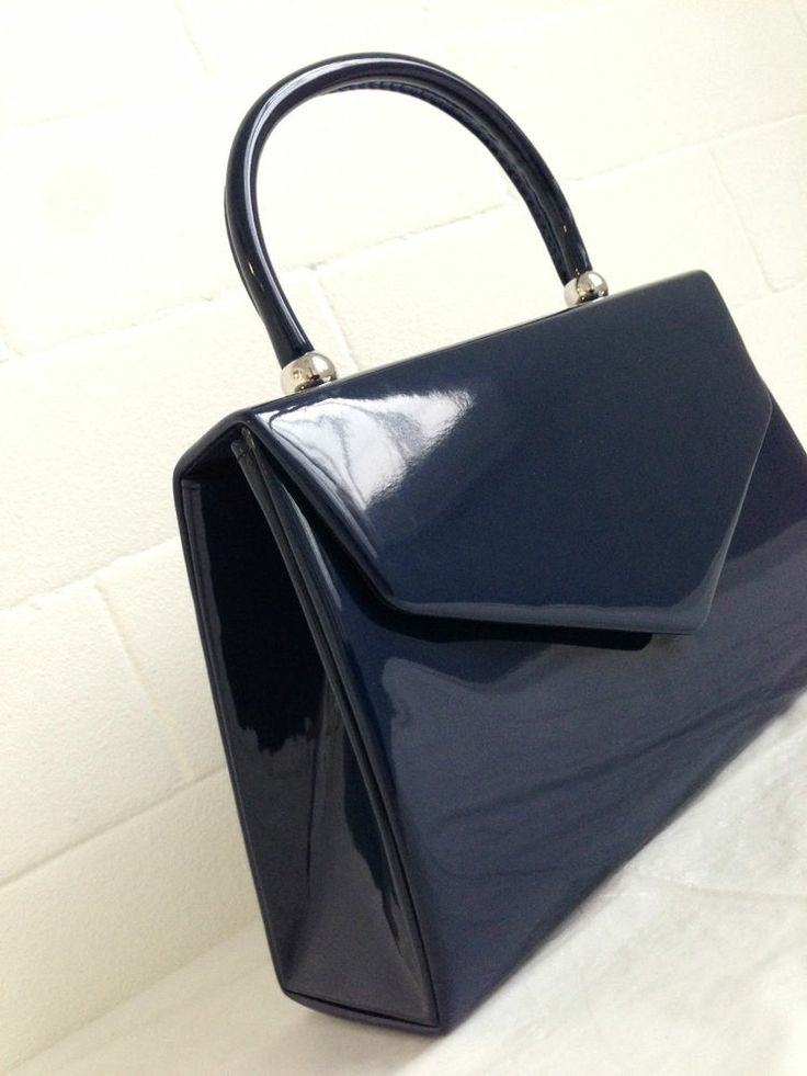 New Navy Blue Patent Evening Clutch Bag Wedding Prom Party Club Top Handle