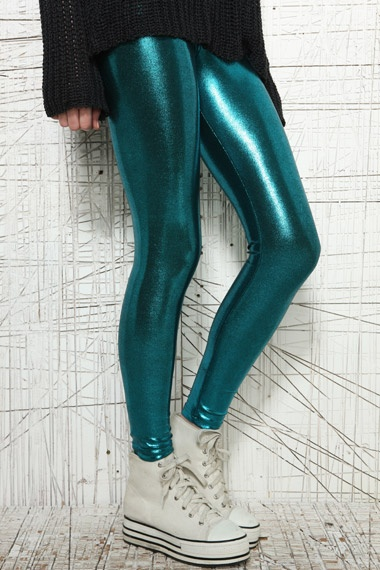 Green Foil Leggings