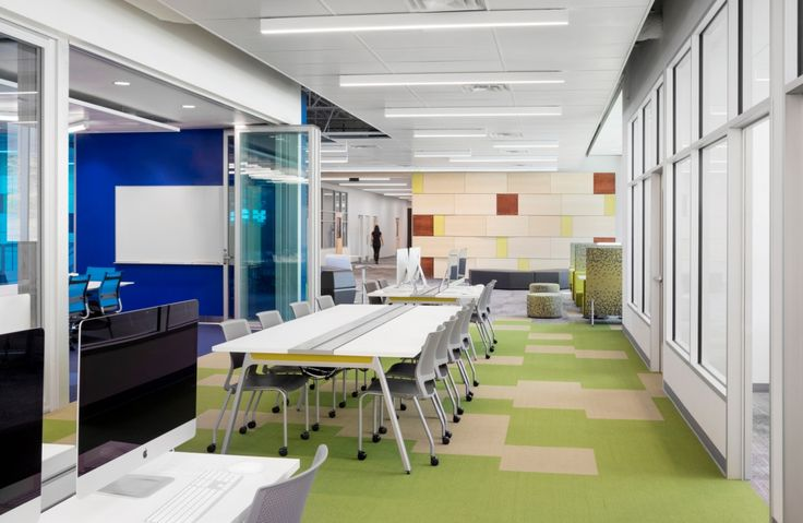 Open work tables and meeting spaces from Pathways