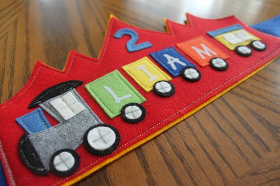 Red Train Birthday Crown by maureencracknell on Etsy, $25.00