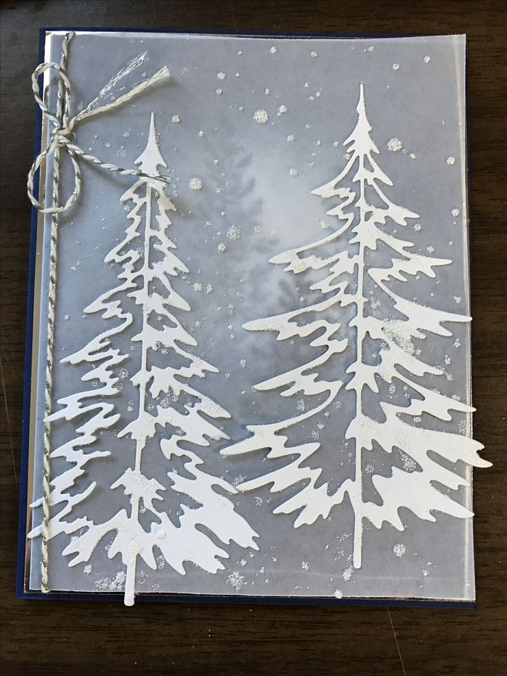 Stampin up Lovely as a tree. Tim Holtz Woodlands die. Christmas card.