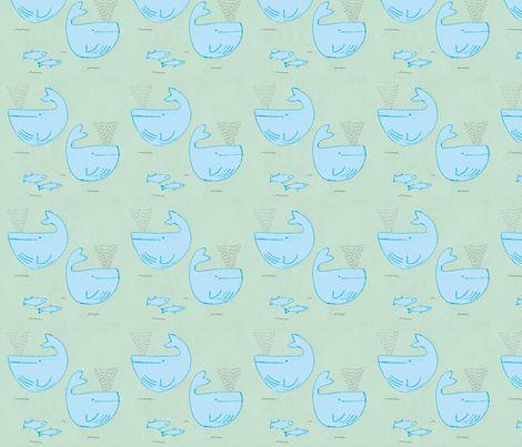 whales are blue fabric by t-w-i-n-k-l-e on Spoonflower - custom fabric