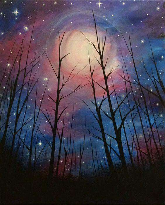 Swirly moon in a starry sky beginner painting idea with tree silhouettes.