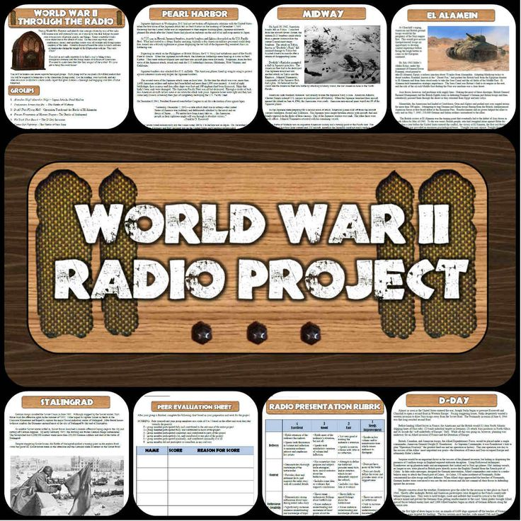 This cooperative learning project for World War II has students read about 7 key battles and create engaging radio news segments just like Americans would have heard in the 1940's! Everything you need to complete this fun, creative lesson is included! My students have made some incredibly entertaining reports over the years, complete with sound effects and fantastic old-time accents! Can be presented in class or recorded and turned into podcasts or MP3s based on your technology resources.