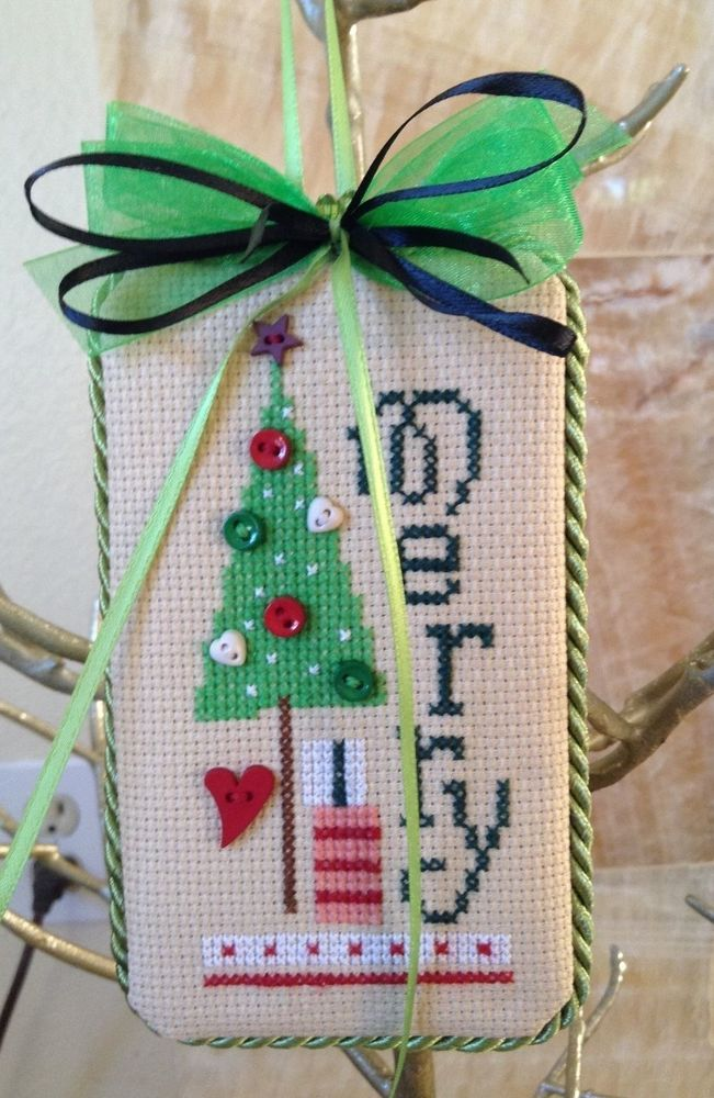 completed cross stitch Lizzie Kate Christmas ornament Merry