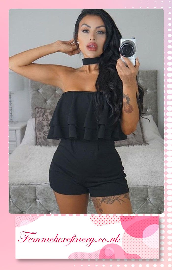#BLACK #CHOCKER #FRILL #BARDOT #PLAYSUIT #femmeluxe