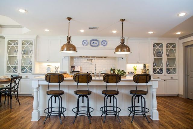 fixer upper open kitchen design with rustic barstools. Exclusive interview with Fixer Upper homeowner and Chip and Joanna Gaines client from season 3.