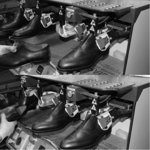 """The shoe's profile over the heel area is shaped and stabilized by a special """"hot / cold"""" machine. #franceschetti handmade shoes Made in Italy"""