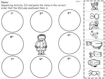 Old Lady Swallowed a Fly -Literacy Mini Pack with sequencing, word wall cards, emergent readers and much more!