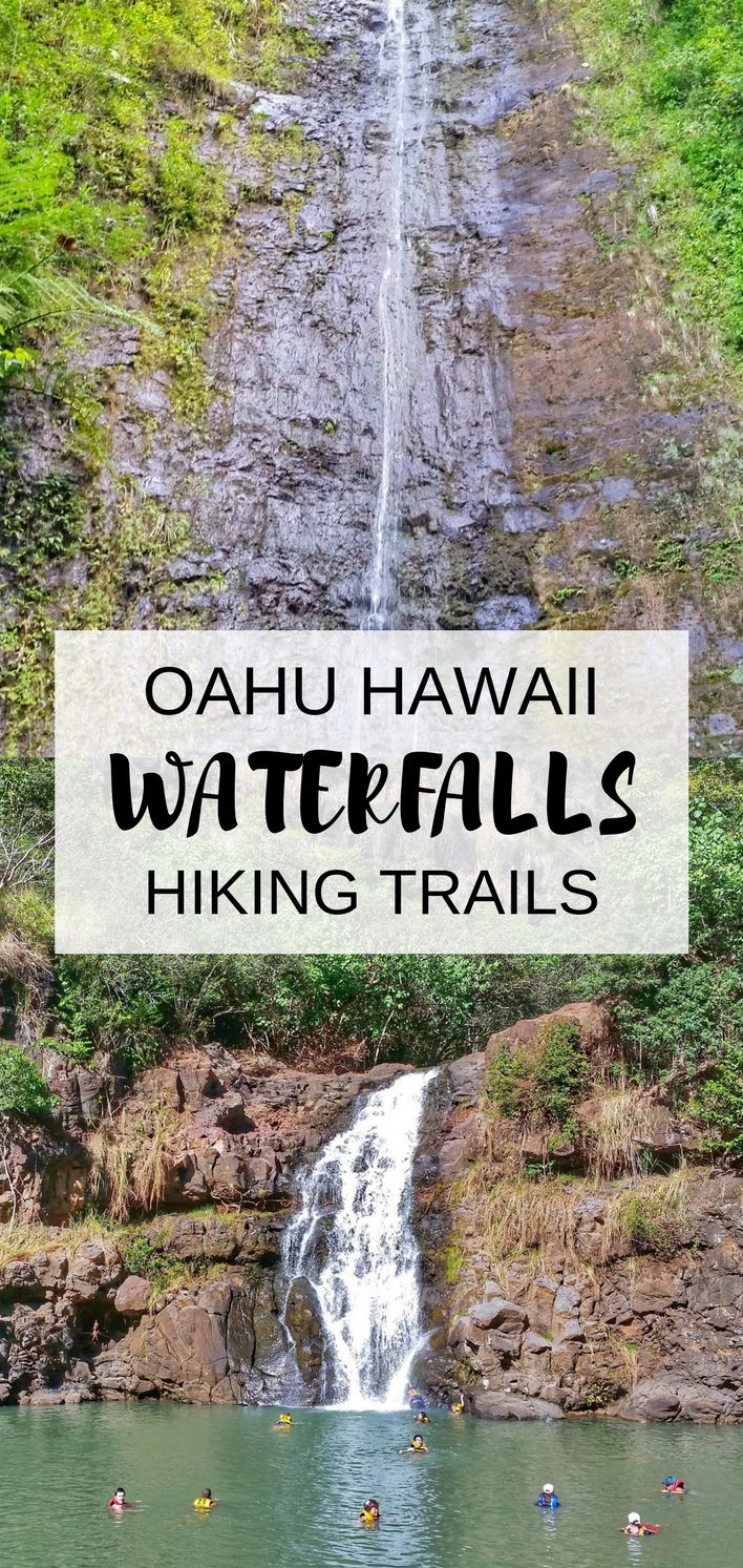 Waterfalls in Oahu with some popular hikes in Hawaii. For US hiking trails in Hawaii, there are tons of hikes on Oahu to choose during Hawaii vacation on the island and there are a few Oahu waterfall hikes too. Manoa Falls is near Honolulu and Waikiki, and Waimea Falls is on the North Shore. People go swimming at both. Outdoor travel destinations and activities for the bucket list for budget adventures! Put hiking gear on Hawaii packing list!#hawaii#oahu
