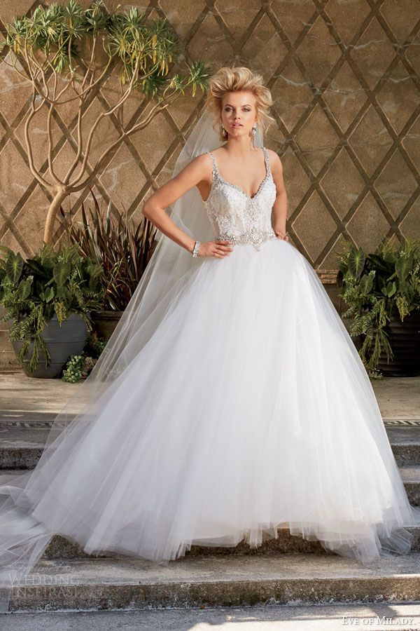 EVE OF MILADY #bridal: Ball gown #wedding dress with embellished straps. http://www.weddinginspirasi.com/2014/12/03/eve-of-milady-amalia-carrara-wedding-dresses-fall-2014/