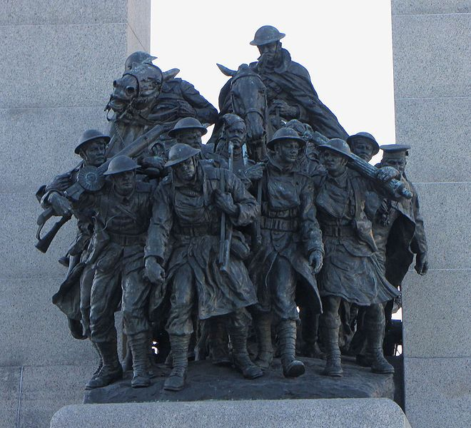 The 23 bronze figures of Canada's National War Memorial located in Ottawa represent the eleven branches of the Canadian forces engaged in the First World War.