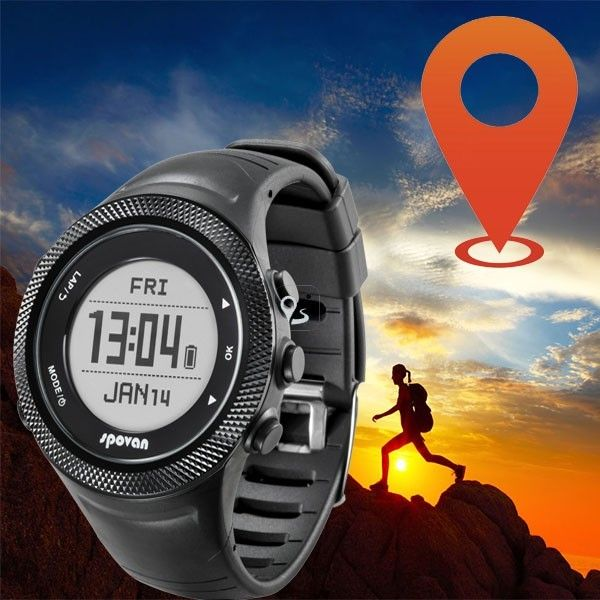 Spovan Smart Bluetooth GPS Wrist Watch Waterproof Altitude Running Heart Rate #heartrate #heartwatch #gpswatch #nice #hikinggear #campinggear #smartwatch #runninggear #runningwatch  Features: 1. GPS: GPS satellite positioning, global time zone, automatic timing. Sports time, distance, trace data, speed, pace etc data record. 2. Heart rate monitor: Real time heart rate monitor, can match use with heart rate belt, higher accuracy. Alarm will work when the heart rate is lower or higher
