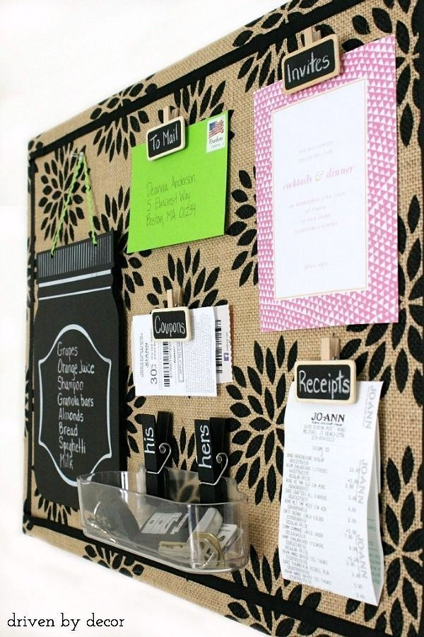Simple tutorial for creating this cute patterned burlap bulletin board. Love the chalkboard clips!