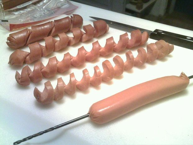 make hotdogs more interesting.  Cut them into spirals :)