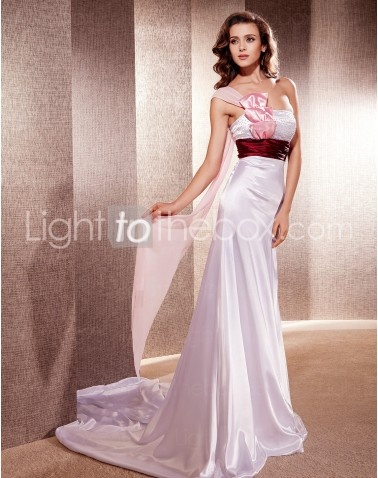 One Shoulder Cathedral Sheath/Column Wedding Dresses With Bow Ribbon Draping