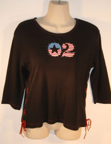 Limited-Too-Black-American-Flag-02-3-4-Sleeve-Top-Size-XL-16-Girls