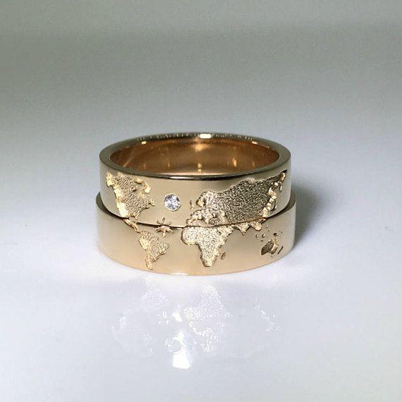 14k Gold Wedding Bands Set With World Map Travelers Wedding Bands Unique Wedding Bands Gold Wedding Band Sets Wedding Rings Sets Gold Wedding Ring Sets