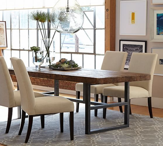 "Griffin Reclaimed Wood Fixed Dining Table | Pottery Barn (perhaps too large - 39"" x 84"")"