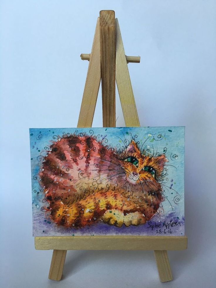 ACEO Miniature Original Watercolour Painting FRED FARM CAT by Sophie Appleton #ACEOartcards