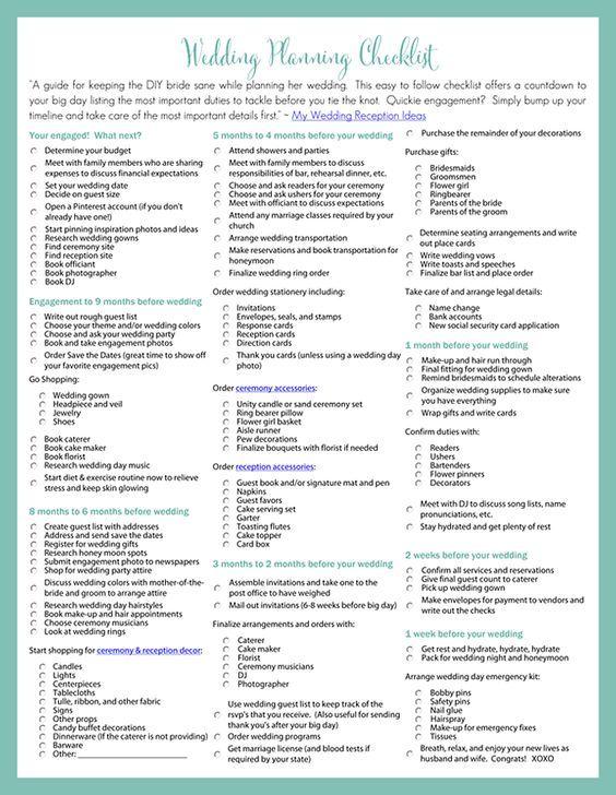 The 25+ best Printable wedding planning checklist ideas on - event planning checklist ideas