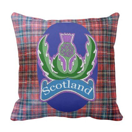 Flower of Scotland' Tartan Throw Pillow - individual customized designs custom gift ideas diy