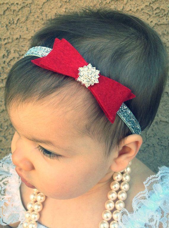 15% OFF Entire Shop. Baby Christmas Headband, silver and red. Baby headbands, felt headbands, toddler headband