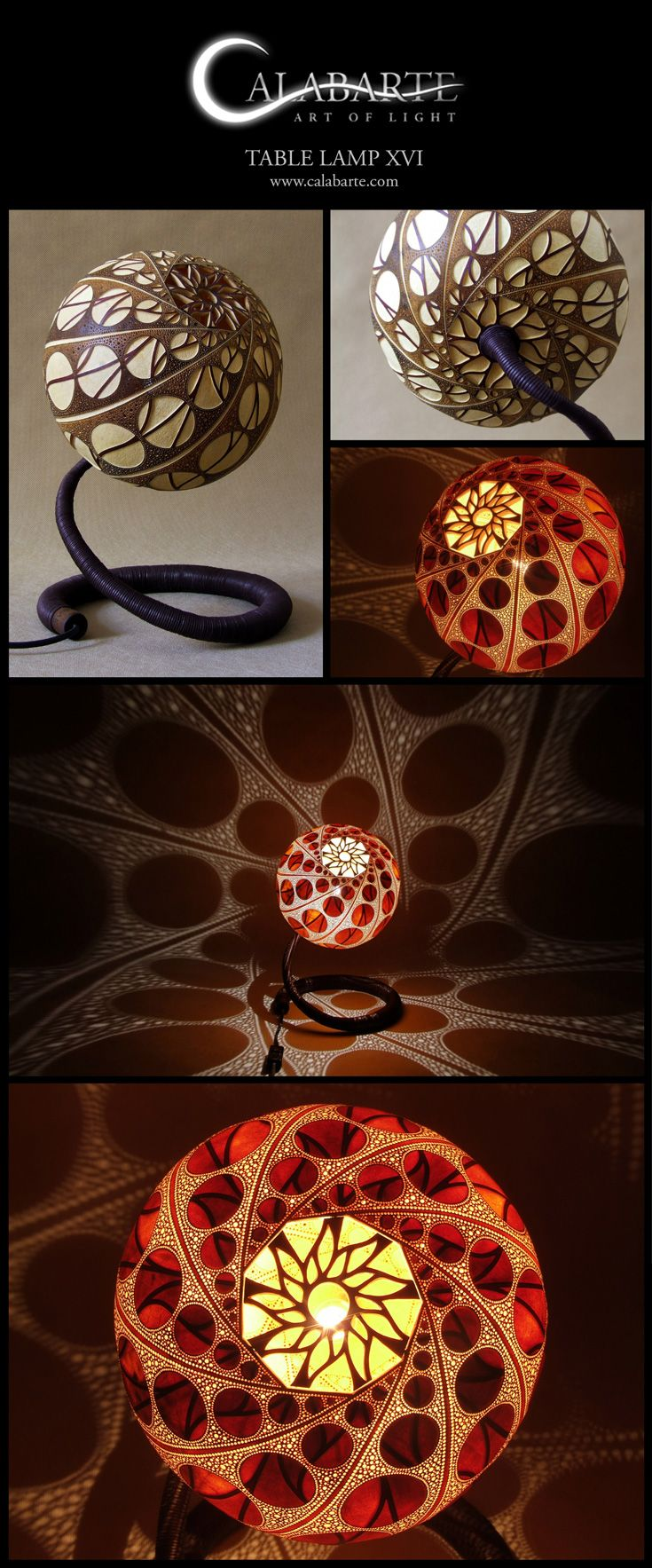 Table Lamp XVI By Calabarte. Lamp Is Fully Handcrafted And Made Of  Senegalese Calabash (gourd).