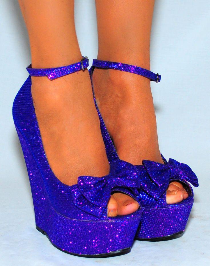 PURPLE GLITTER SPARKLY BOW BOWS ANKLE STRAP PLATFORMS HIGH HEELS WEDGES SHOE on Wanelo