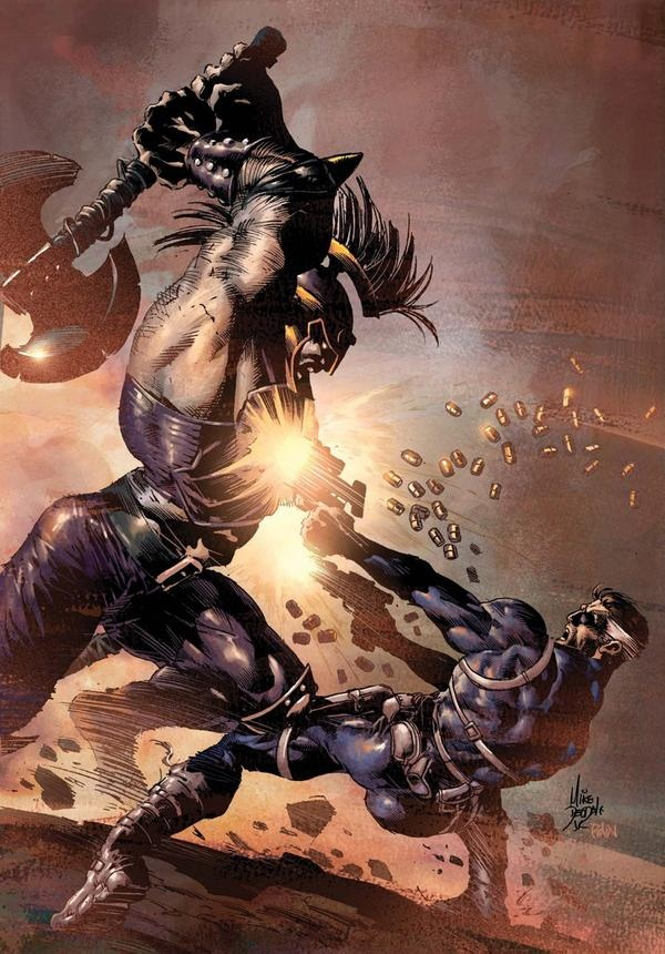 Ares vs Nick Fury by Mike Deodato Jr.  Wow! I want to see what happens next!!