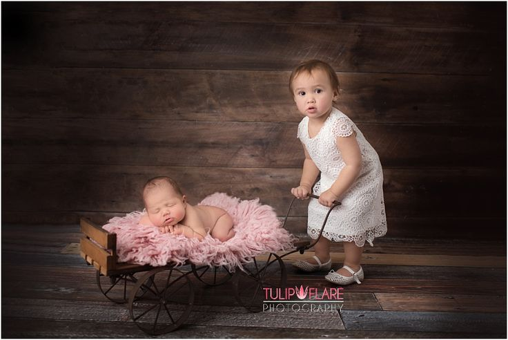 Big sister pushing her newborn baby sister in a cart