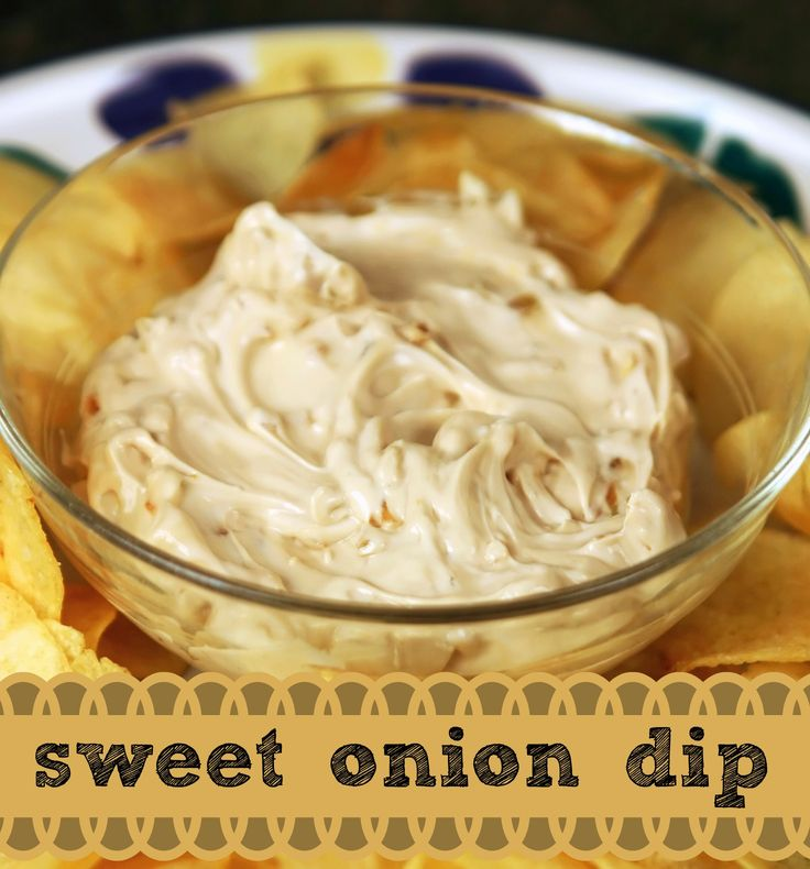 Homemade Onion Dip. Made with Sweet Onions! Serve this dip with sliced veggies, chips, pretzels and more!