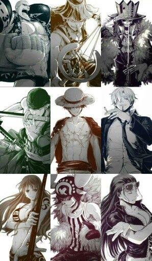 Monkey D. Luffy, Roronoa Zoro, Nami, Usopp, Vinsmoke Sanji, Tony-Tony Chopper,  Nico Robin, Franky  (Cutty Flam) and Brook