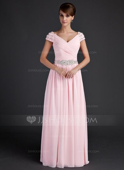 Mother of the Bride Dresses - $138.99 - A-Line/Princess V-neck Floor-Length Chiffon Mother of the Bride Dress With Ruffle Beading (008015624) http://jjshouse.com/A-Line-Princess-V-Neck-Floor-Length-Chiffon-Mother-Of-The-Bride-Dress-With-Ruffle-Beading-008015624-g15624