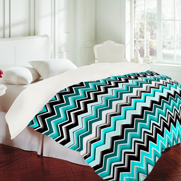 Turquoise and black zebra bedding - Madart Inc Turquoise Black White Chevron Duvet Cover
