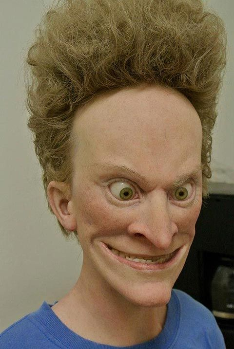 makeup effects artist Kevin Kirkpatrick created these prosthetic models of what Beavis and Butthead would look like in real life.