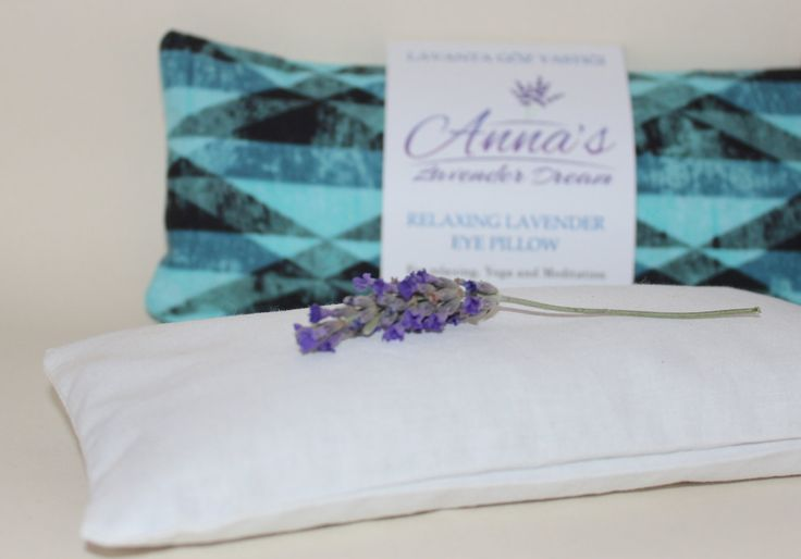 Relaxing Lavender Eye Pillow with Removable Cover Petite - Turquoise by AnnaLavenderDream on Etsy
