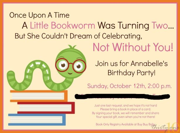 Annabelle's 2nd - Bookworm Party Invitation                              …