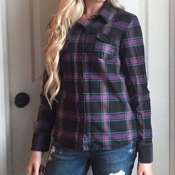 Purple and black flannel shirt Great condition, just needs a bit of ironing!  I love this flannel!Trades PayPal Ezekiel Tops
