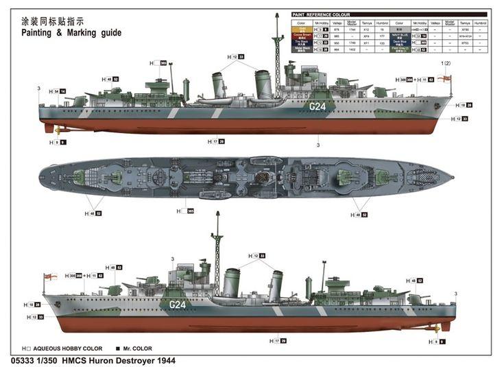 1:350 Trumpeter HMCS Huron Destroyer 1944 - TR05333