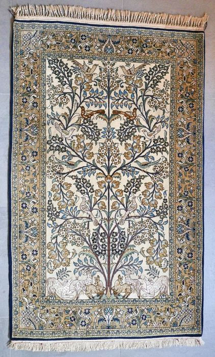Bijzondere oude Qum/Ghom perzisch tapijt - kork wol met zijde