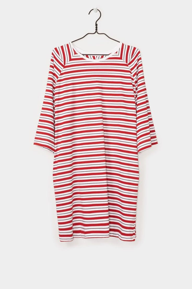 Building Block Oversized Tee Dress, Red Stripe
