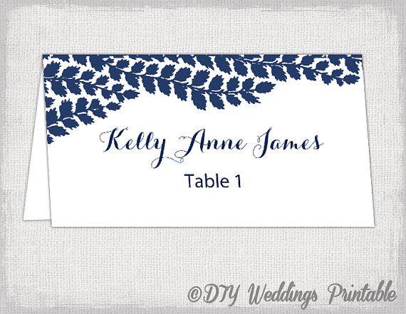 Place card template Navy DIY wedding name by diyweddingsprintable