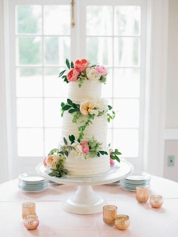 Wedding Cake Featuring Greenery